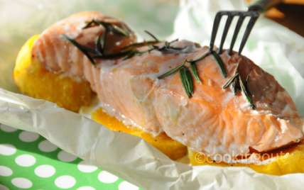 Recette papillote de saumon au butternut et romarin 750g - Saumon papillote au four ...