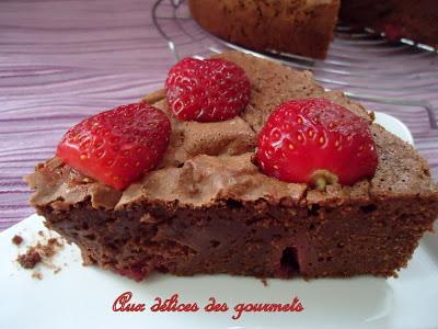 Gâteau chocolat ,fraises