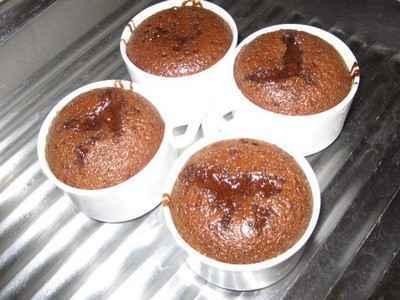 Gateau individuel fondant au chocolat