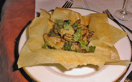 Recette , Croustillant de foie gras frais aux champignons des bois