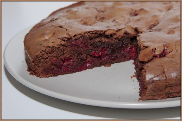 Recette gateau chocolat coeur fondant framboise