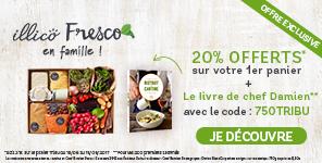 illicoFresco en famille ! Offre Exclusive. 20% offerts sur votre 1er panier + le livre de chef Damien avec le code : 750TRIBU