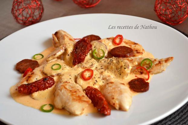 Recette aiguillettes de poulet sauce cr meuse au chorizo 750g - Cuisiner aiguillette de poulet ...