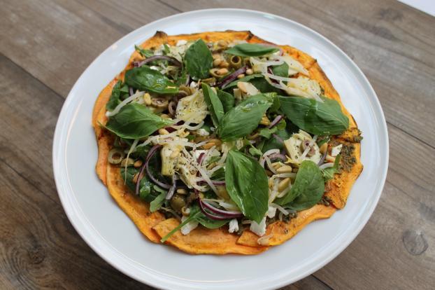 Recette - Pizza de patate douce aux légumes en vidéo