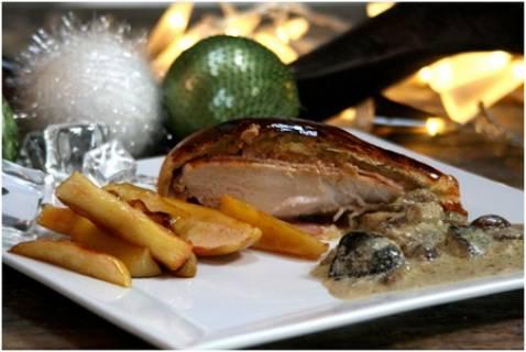 Cuisses de poulet, sauce foie gras et courge butternut
