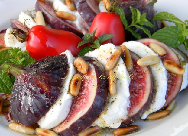Recette salade aux figues et mozzarella 750g - Cuisiner des figues fraiches ...