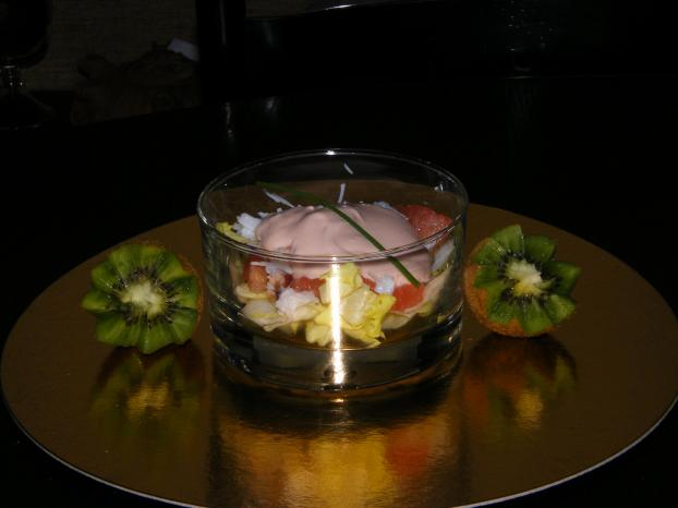 recette verrines de pamplemousse au crabe sauce. Black Bedroom Furniture Sets. Home Design Ideas