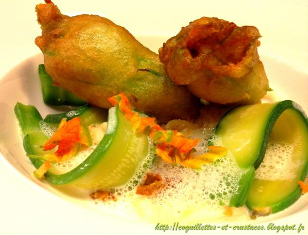 Recette tempura de fleurs de courgettes farcies au risotto blanc de seiches mini courgettes - Fleurs de courgettes farcies ...