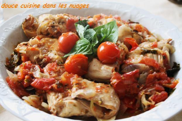 recette - lapin aux tomates et basilic   750g