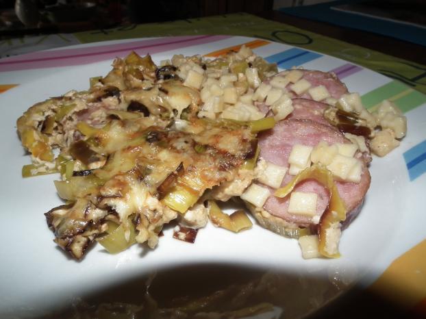 Recette gratin de crozets aux poireaux et saucisse de - Cuisiner saucisse de morteau ...
