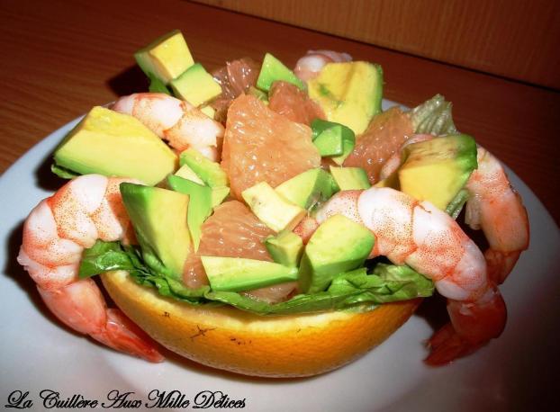 Recette salade de pamplemousse avocat et crevettes 750g for Entree froide festive