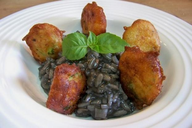 recette risotto l 39 encre de seiche et beignets de courgettes 750g. Black Bedroom Furniture Sets. Home Design Ideas