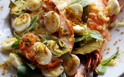 Riz à l'indienne aux crevettes géantes - Photo par dorian_nieto