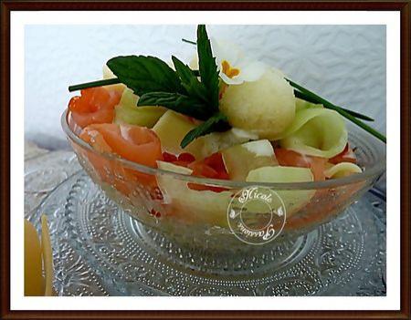 Salade papardelle, concombre saumon sorbet citron - Photo par nicole4X