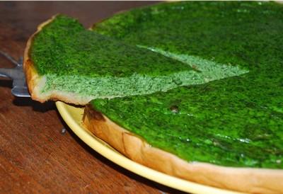 Tarte toute verte aux pousses d'épinards presque crues - Photo par xaxado