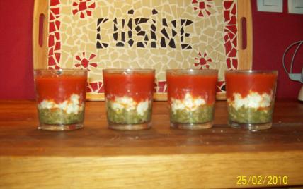 Verrines tomate-chèvre-haricot - Photo par gaellelecolo43