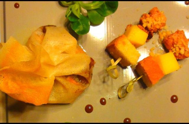 Aumônière d'Automne: Ris de veau laqué, salsifis et girolles. Sauce au vin de noix - Photo par alarriz