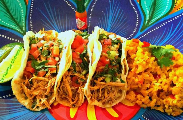 Tacos de poulet et riz mexicain - Photo par la fabrique gourmande