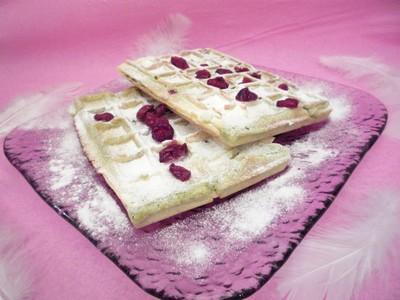 Gaufres matcha aux cranberries - Photo par Chez Inoule