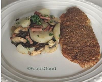 Filets de Colin-lieu en panure de noisettes, poêlée de topinambours, champignons et lardons fumés - Photo par Food4Good