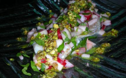 Filets de dorade et croquants au pistou de pistache - Photo par sdussa