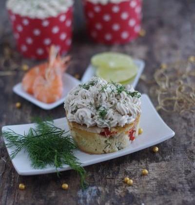 Cupcakes poivrons-crevettes aux Fromagères Thon & St Morêt - Photo par Coraya