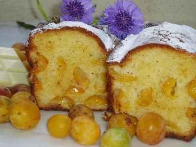 Cake aux mirabelles et chocolat blanc - Photo par newelm