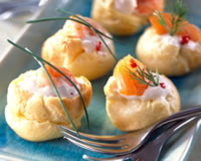 Petits choux à la crème et au saumon - Photo par marie7n
