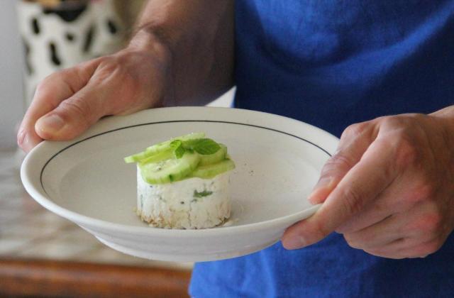 Cheesecakes aux concombres et petit pois frais - Photo par aquiliD