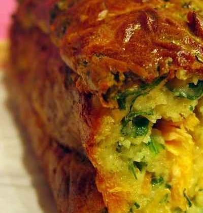 Cake roquette, truite et wasabi - Photo par Chez Inoule