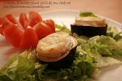 Toasts d'aubergine grillée au chèvre - Photo par rachelgi