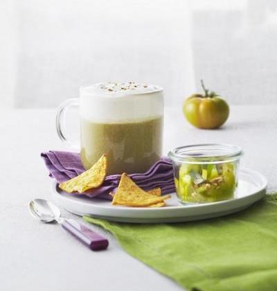 Jus de Tomate Verte et Cappuccino de Elle & Vire «Le Fromage à la crème» - Photo par Elle & Vire