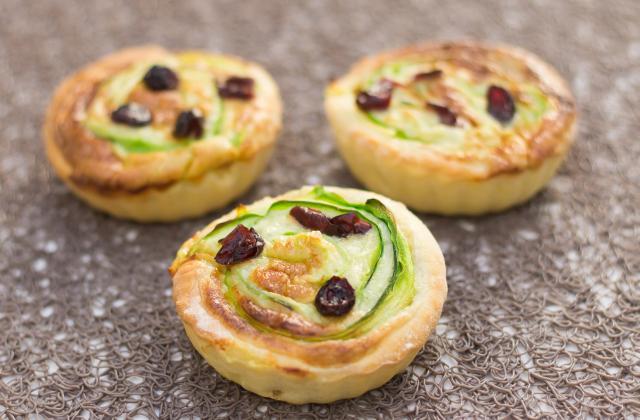 Tartelettes courgettes roquefort et cranberries - Photo par christophe thermostat7.fr
