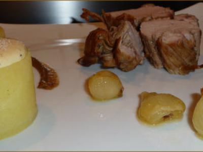 Mignon de Porc braisé au Vin de Noix et sa Réduction aux Lentilles, Dauphinois Destructuré - Photo par benoitE9w