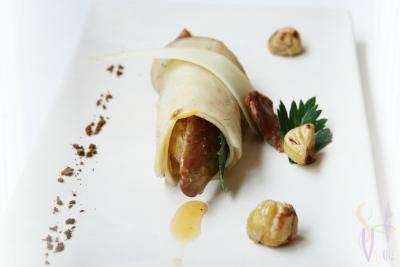 Cannelloni épicé de chèvre et céleri  aux châtaignes, magret et oranges - Photo par gwenSC