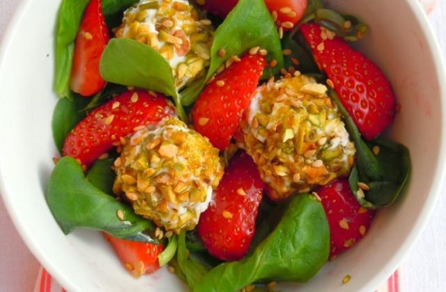 Salade de fraises au fromage frais et pistaches - Photo par poupou5