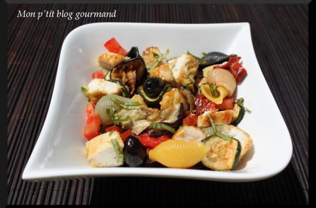 Salade de légumes grillés et poulet caramélisé à la moutarde - Photo par marycom