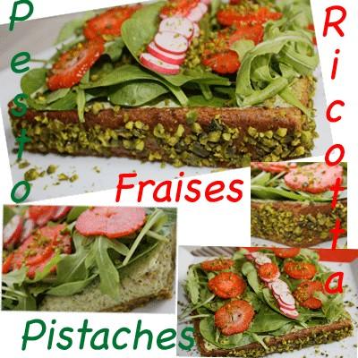 Tarte pistache et garniture ricotta pesto pistache, couverture de roquettes, pousse d'épinards, radis roses et fraises - Photo par elodiekvn