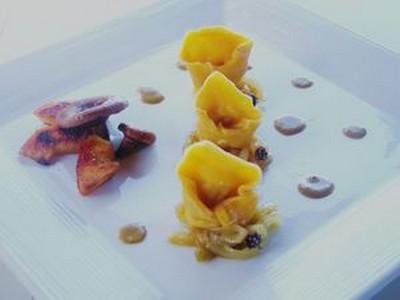 Capeletti de butternut au pintadeau sauce aux foies de volailles - Photo par 750g