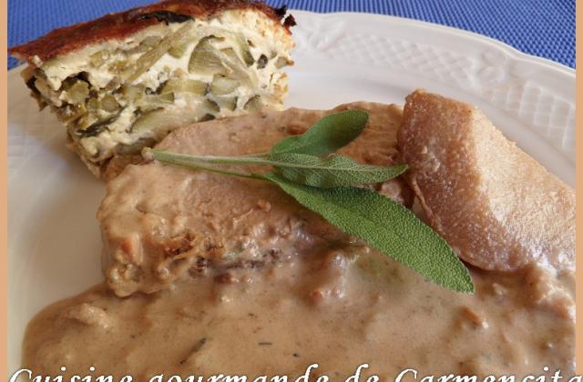 Rôti de filet de porc aux poires et sa sauce au bleu - Photo par Carmen