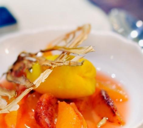 Nage d'oranges sanguines, sorbet fenouil safran - Photo par Chef Damien