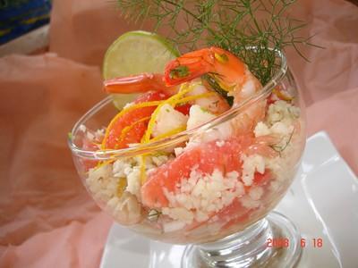 Taboulé de chou-fleur au pamplemousse et crevettes - Photo par michelBlr