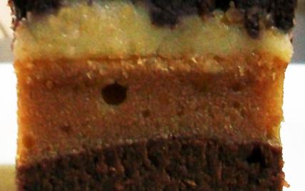 Bouchées totalement décadentes : brownie moelleux au chocolat noir surmonté d'une pâte cream cheese-cacahuètes, glaçage chocolat blanc, sur-glaçage chocolat noir & noisettes - Photo par Gourmande4ever