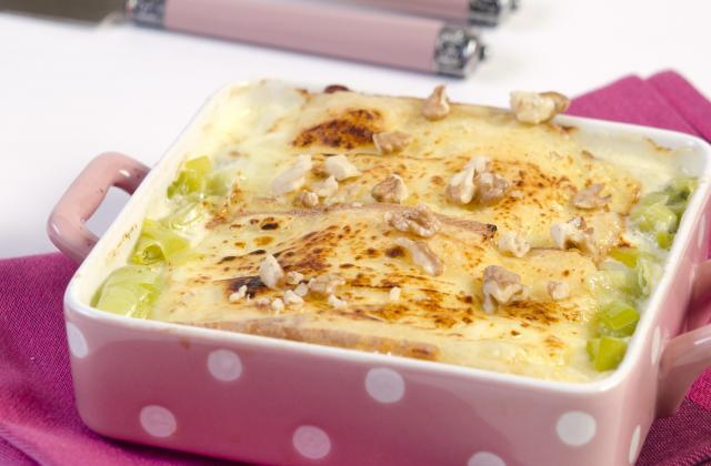 Gratin de poireaux au jambon cru et à la raclette Richemonts - Photo par Quiveutdufromage.com