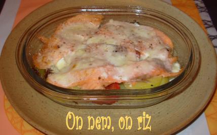 Gratin de pommes de terre, poivrons, truite fumée et fève tonka - Photo par paulinc7