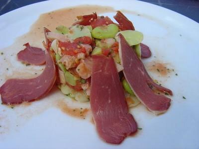 Salade maison de féves à la tomate et au magret de canard - Photo par darton