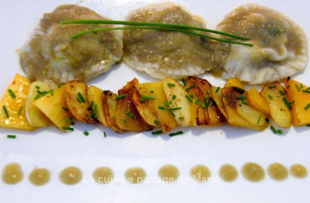 Ravioles de kaki persimon au foie gras - Photo par marierechou