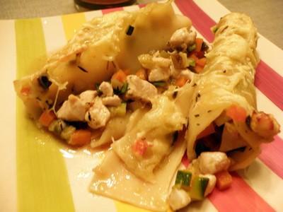 Cannellonis aux petits légumes et à la volaille - Photo par famill9c