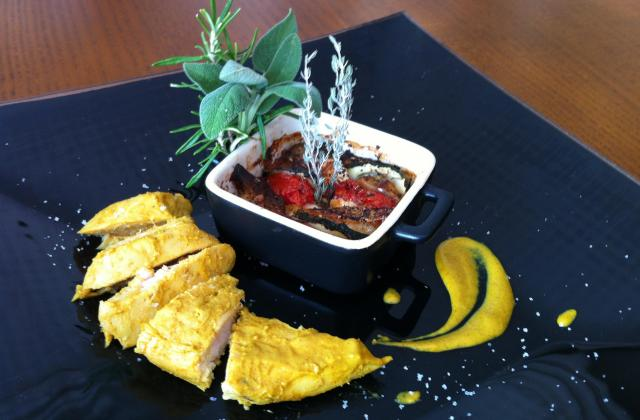Poulet au curry et au miel et son tian de légumes au chèvre ! Plat familial - Photo par Recette de Benzo