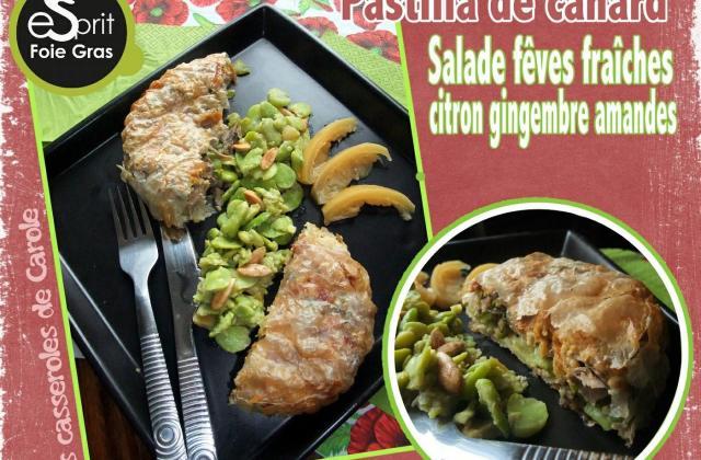 Pastilla de canard aux fèves fraiches et salade de fèves - Photo par casserolescarole